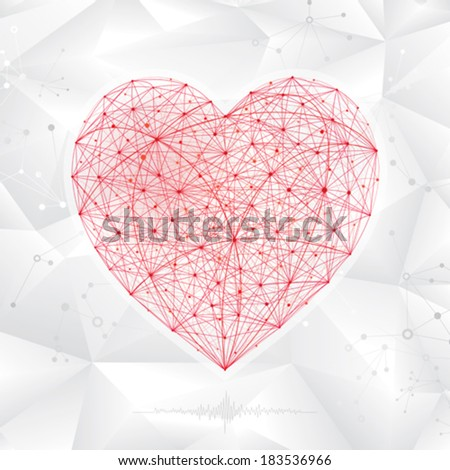 Abstract background of molecular heart shape.  - stock vector