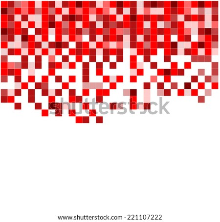 abstract background of small red pixels of various shades forming a mosaic pattern - stock vector