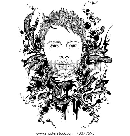 Abstract background of Tom Yorke portrait with flora splashes and bubbles - stock vector