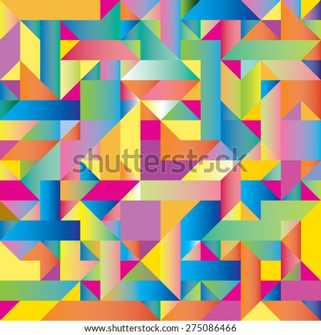 Abstract background of triangles of different colors - stock vector