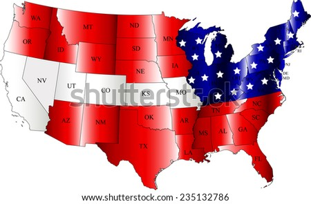 Abstract background of USA map with the states names and the flag color, a conceptual; design of US map and flag - stock vector