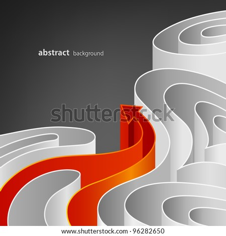 Abstract background of white elements with bright orange arrow - stock vector