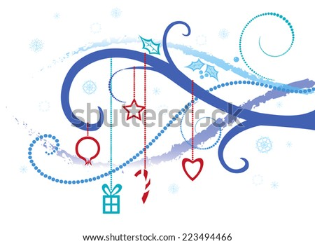 Abstract background on Christmas, winter theme - stock vector