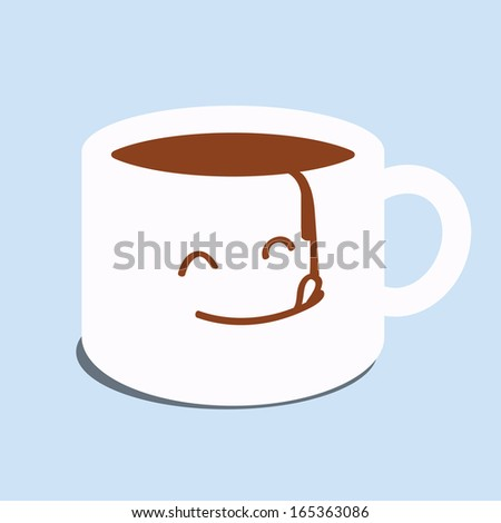 Abstract background on cute facial expression on a cup of coffee, trying a taste of coffee. Refreshment and relaxation concept with coffee.  - stock vector