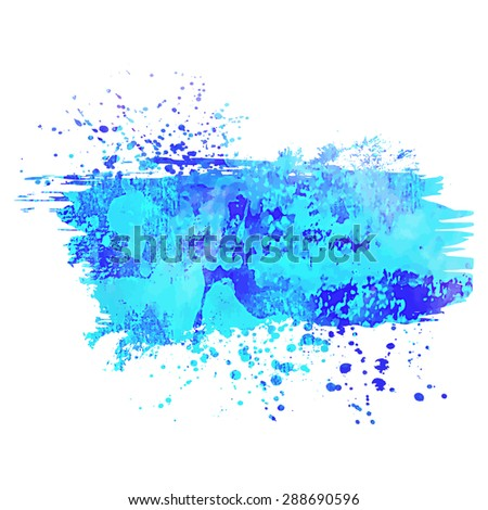Abstract background or banner. Colorful watercolor isolated design elements. Vector illustration. Easy editable template.  Bright acid  blue color. - stock vector