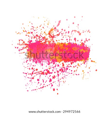 Abstract background or banner. Colorful watercolor isolated design elements. Vector illustration. Easy editable template.  Bright acid  pink and orange colors. - stock vector