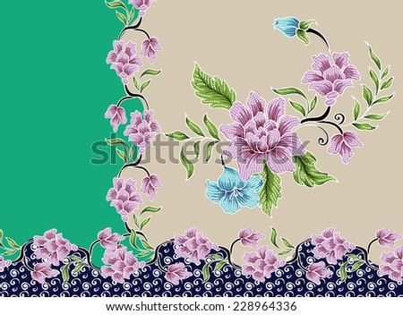 Abstract background pattern with vintage flowers.