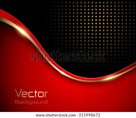 Abstract background red with gold wave and dotted pattern, vector - stock vector