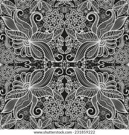 Abstract background, seamless pattern, hand drawn floral and geometric ornament, lace texture, black and white vector illustration - stock vector