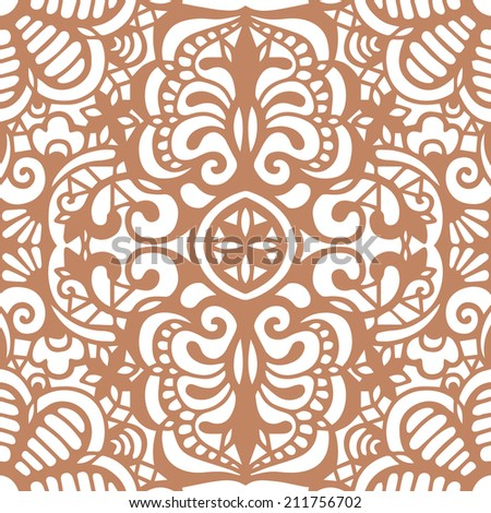 Abstract background, seamless texture, retro floral and geometric ornament, lace pattern, tribal ethnic decoration, hand drawn artwork - stock vector