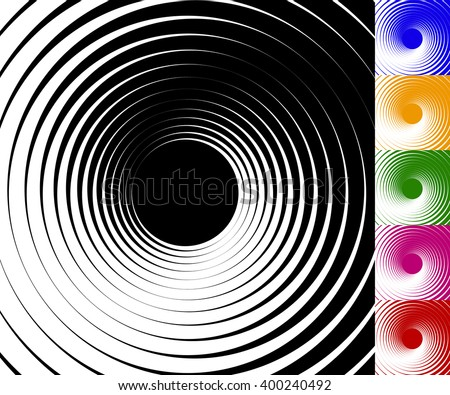 Abstract background set with concentric, rotating circles. Radiating spirally element. - stock vector