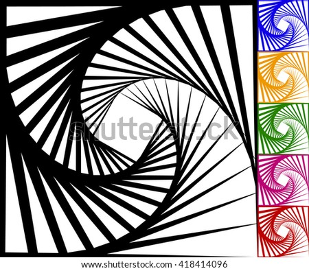 Abstract background set with concentric rotating lines. Spiral, vortex pattern in 5 colors plus black and white version - stock vector