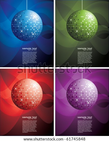 Abstract Background Set with Disco Ball - stock vector