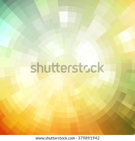 Abstract background shiny mosaic pattern. Disco style. Summer color. Summer sun. Summer background. Summer light. Summer poster. Sun summer ray. Mosaic summer background. Light summer. Summer sunrise - stock vector