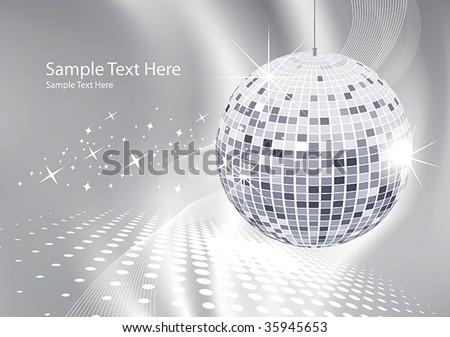 abstract background silver disco ball - stock vector