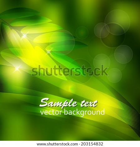 abstract background the green leaves and the sun.vector background - stock vector