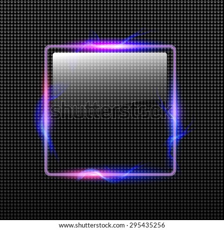 Abstract background transparent glossy button with neon lights around, vector illustration. - stock vector