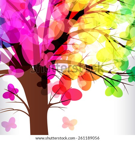 abstract background, tree with branches made of colorful butterflies. - stock vector