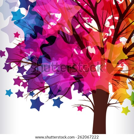 abstract background, tree with branches made of colorful stars. - stock vector