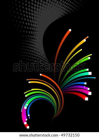 abstract background, vector, colorful 3d stripes - stock vector