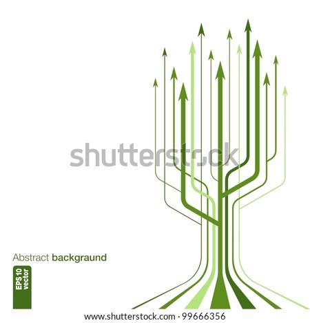 Abstract Background Vector. Green arrows. - stock vector