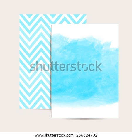 Abstract background. Watercolor art. Set of 2 blue  invitation cards. Wedding invitation,greeting card. Place for your text. Classic chevron. Watercolor blue stain. Vector editable template. - stock vector