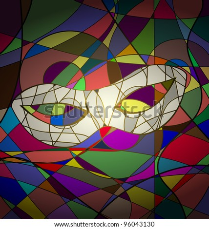 abstract background white carnival mask - stock vector