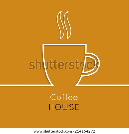Abstract background with a cup of coffee from a white ribbon and text Coffee house. orange. for menu, restaurant, cafe, bar, coffeehouse. - stock vector
