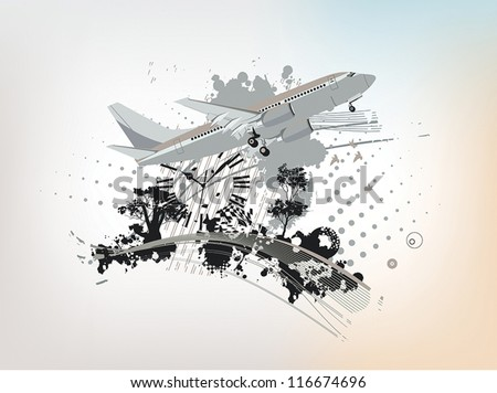 abstract background with a plane and a clock - stock vector