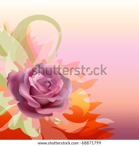 Abstract background with a rose. Floral background.