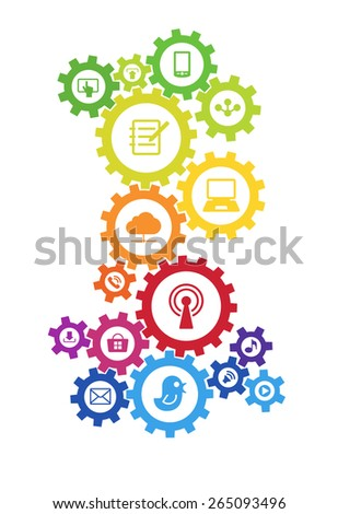 Abstract background with a set of gears, interface icons. Internet concept, communication, networking, social media and global concepts. 