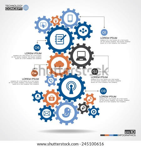 Abstract background with a set of gears, interface icons, text. Internet concept, communication, networking, social media and global concepts.  Modern infographics template - stock vector