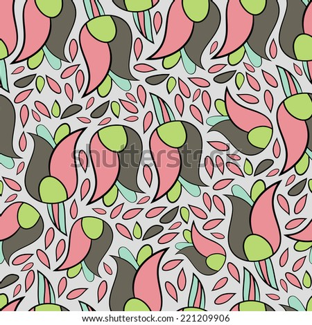Abstract background with abstract objects, flowers. Seamless vector pattern can be used for web page backgrounds, wallpapers ,pattern.