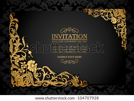 Abstract background antique luxury black gold stock vector 104707928 abstract background with antique luxury black and gold vintage frame victorian banner damask stopboris Image collections