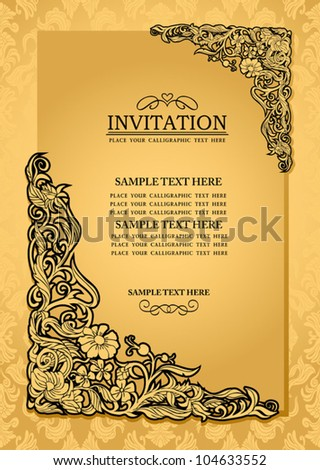 Abstract background with antique, luxury gold vintage frame, victorian banner, damask floral wallpaper ornament, invitation card, baroque style booklet, fashion pattern, paper page template for design - stock vector
