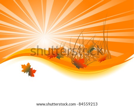 Abstract background with autumn leaves - stock vector