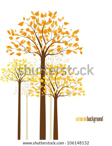 abstract background with autumn trees - stock vector