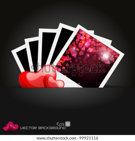 Abstract background with beautiful heart shape in frame, EPS 10, vector illustration - stock vector