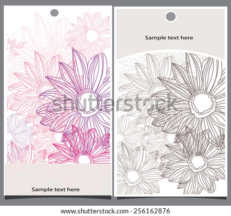 abstract background with beautiful tags with pink flowers - stock vector