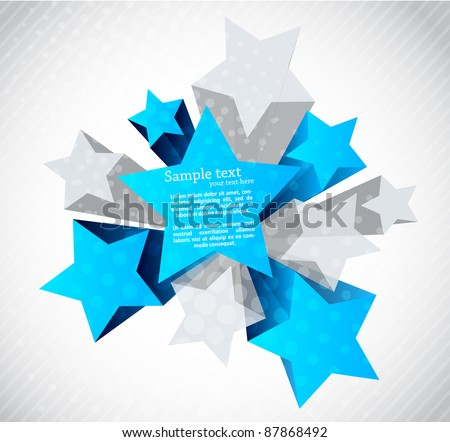 Abstract background with blue and gray star - stock vector