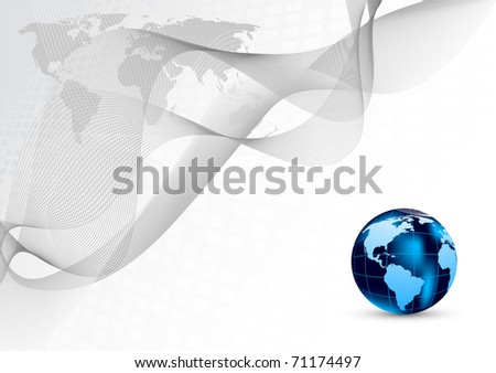 Abstract background with blue globe - stock vector