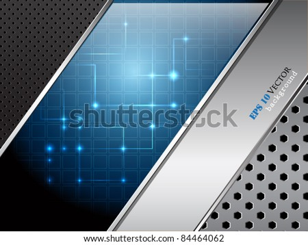 Abstract background with blue glossy banner and different metallic surface - stock vector