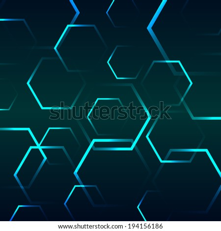 Abstract background with blue hexagon, stock vector - stock vector