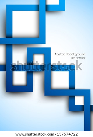 Abstract background with blue squares - stock vector