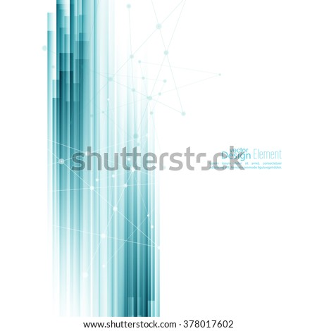 Abstract background with blue stripes. Concept new technology and dynamic motion. Digital Data Visualization.  Annual Report with information dots, circle - stock vector