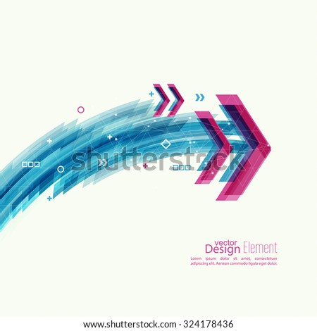 Abstract background with blue stripes, plus and curves. Concept  new technology and dynamic motion. Digital Data Visualization. Arc with symbols. Red angular pointer - stock vector