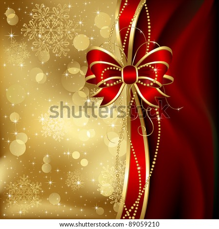 Abstract background, with bow, stars, snowflakes and blurry lights, illustration - stock vector