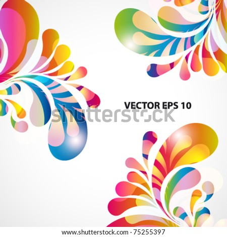 Abstract background with bright teardrop-shaped arches. - stock vector