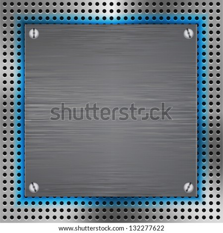 Abstract background with brushed metal inset and blue light. Vector illustration