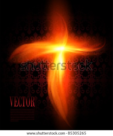 Abstract background with burning fire cross, vector. - stock vector